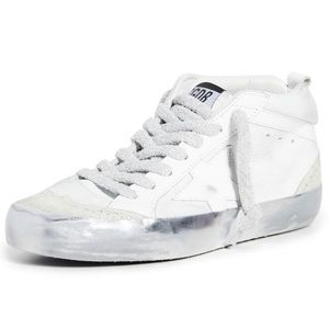 Golden Goose mid star in snow/sparkle size 37